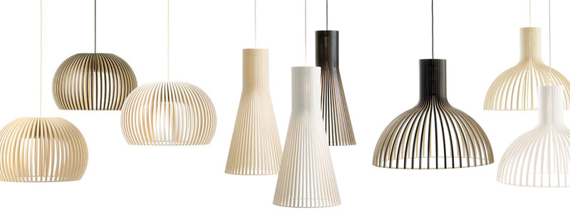 Wooden Birch Scandinavian Finnish Pendent Lamps in Black, White and Natural