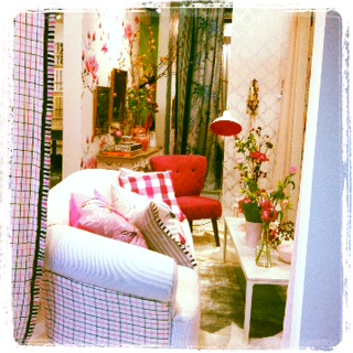 Designers Guild White and Pink Room set Exhibition