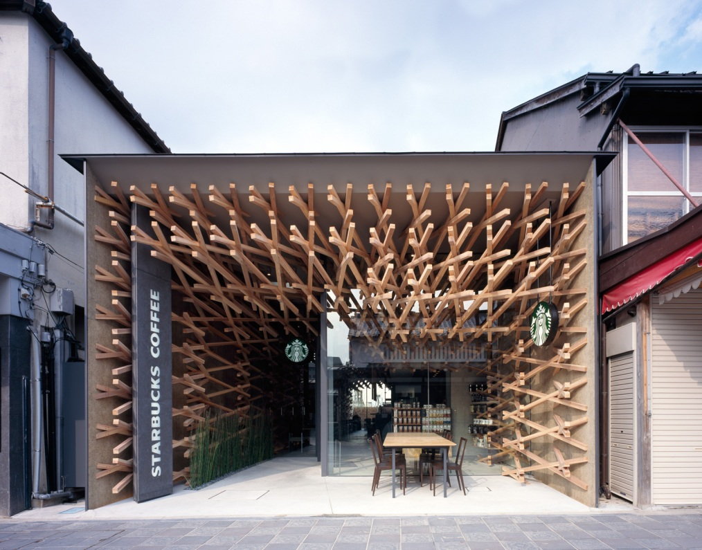 Wooden Architectural Starbucks Coffee Location