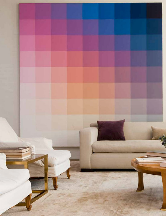 Graduated Pixel Hues Painiting in Living room