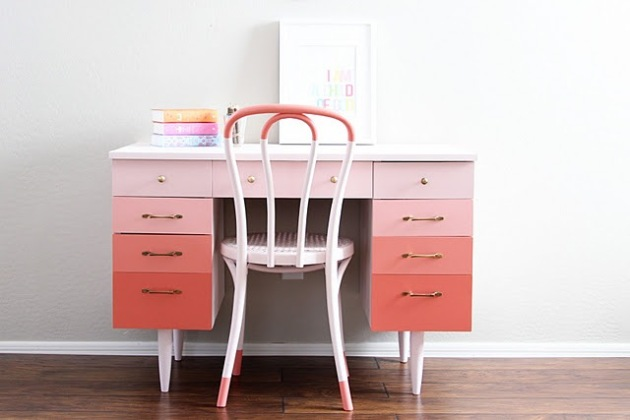 Graduated Pale Pink Ombre desk painted by Natty by Design